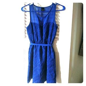 Blue party dress with illusion neck